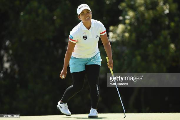 Ai Suzuki of Japan celebrates victory during the final round of the HokennoMadoguchi Ladies at the Fukuoka Country Club Wajiro Course on May 14 2017...