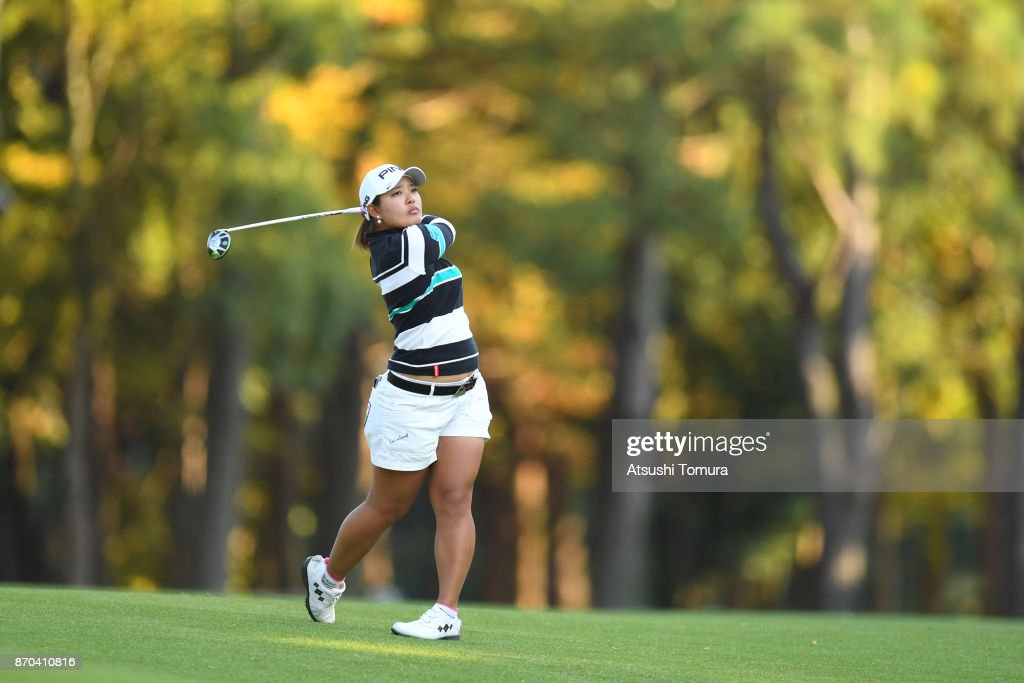 Ai Suzuki of Japan hits her second shot on the 17th hole during the final round of the TOTO Japan Classics 2017 at the Taiheiyo Club Minori Course on November 5, 2017 in Omitama, Ibaraki, Japan.