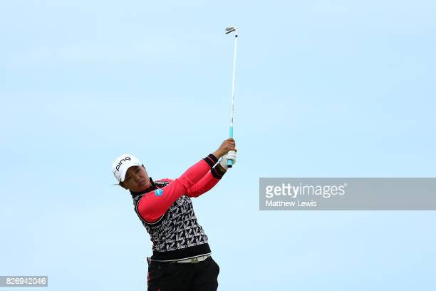 Ai Suzuki of Japan hits her second shot on the 4th hole during the final round of the Ricoh Women's British Open at Kingsbarns Golf Links on August 6...
