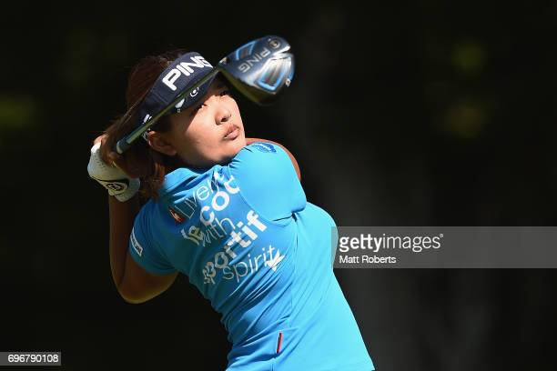 Ai Suzuki of Japan hits her tee shot on the 13th hole during the second round of the Nichirei Ladies at the on June 17 2017 in Chiba Japan
