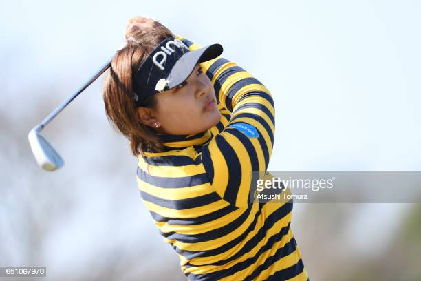 Ai Suzuki of Japan hits her tee shot on the 17th hole during the first round of the Yokohama Tire PRGR Ladies Cup at the Tosa Country Club on March...