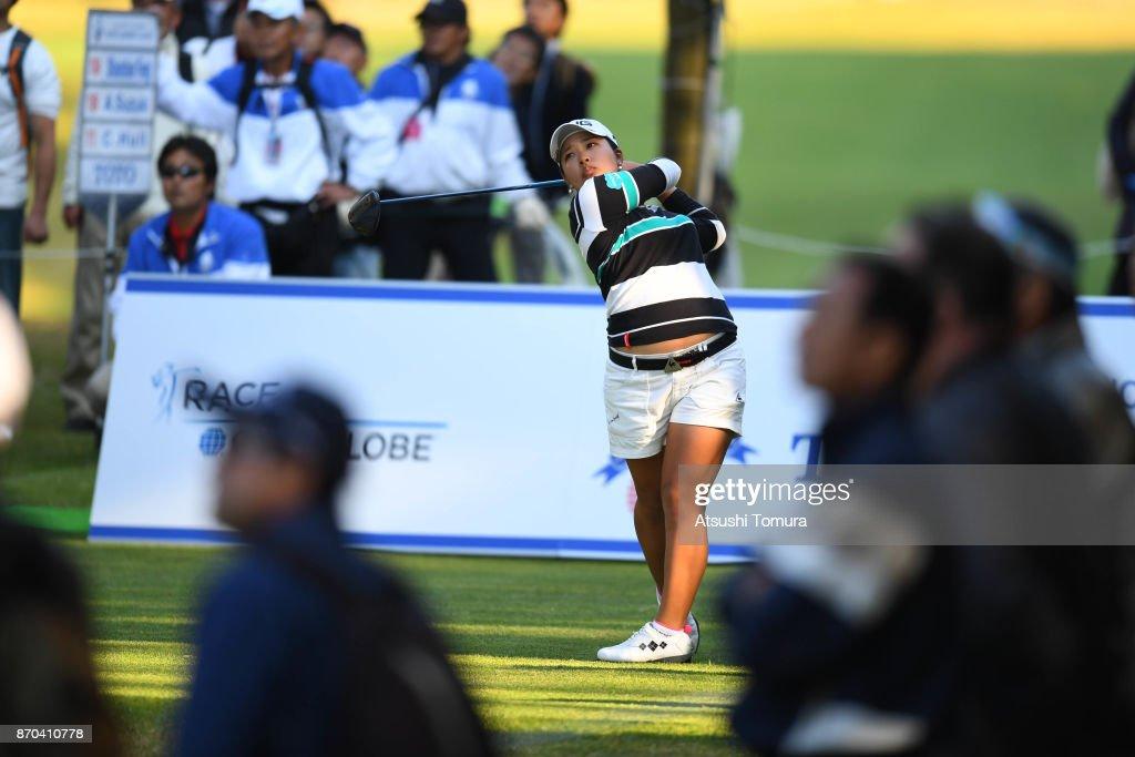 Ai Suzuki of Japan hits her tee shot on the 18th hole during the final round of the TOTO Japan Classics 2017 at the Taiheiyo Club Minori Course on November 5, 2017 in Omitama, Ibaraki, Japan.