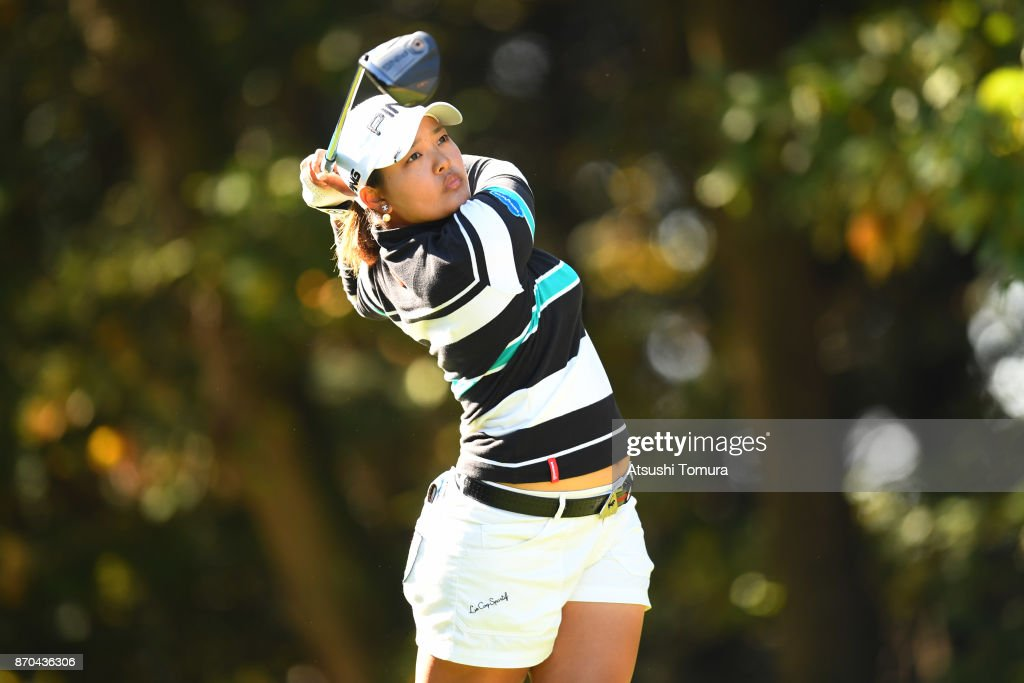 Ai Suzuki of Japan hits her tee shot on the 2nd hole during the final round of the TOTO Japan Classics 2017 at the Taiheiyo Club Minori Course on November 5, 2017 in Omitama, Ibaraki, Japan.