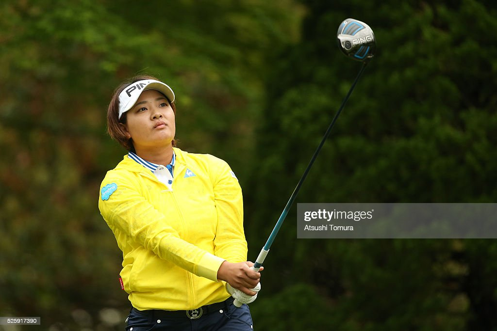 <a gi-track='captionPersonalityLinkClicked' href=/galleries/search?phrase=Ai+Suzuki+-+Golfster&family=editorial&specificpeople=13711094 ng-click='$event.stopPropagation()'>Ai Suzuki</a> of Japan hits her tee shot on the 2nd hole during the first round of the CyberAgent Ladies Golf Tournament at the Grand Fields Country Club on April 29, 2016 in Mishima, Japan.