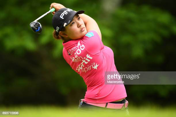 Ai Suzuki of Japan hits her tee shot on the 3rd hole during the first round of the Suntory Ladies Open at the Rokko Kokusai Golf Club on June 8 2017...