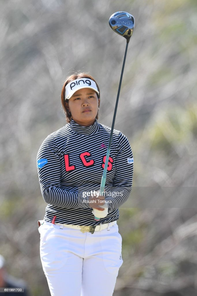Ai Suzuki of Japan hits her tee shot on the 3rd hole during the second round of the Yokohama Tire PRGR Ladies Cup at the Tosa Country Club on March 11, 2017, Konan, Japan.