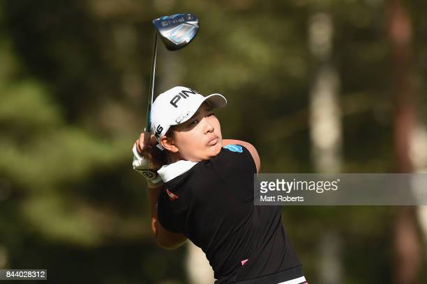 Ai Suzuki of Japan hits her tee shot on the 3rd hole during the second round of the 50th LPGA Championship Konica Minolta Cup 2017 at the Appi Kogen...