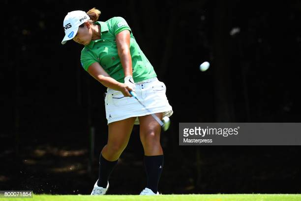 Ai Suzuki of Japan hits her tee shot on the 4th hole during the second round of the Earth Mondamin Cup at the Camellia Hills Country Club on June 23...