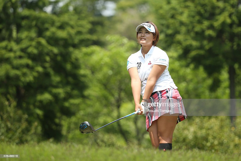 <a gi-track='captionPersonalityLinkClicked' href=/galleries/search?phrase=Ai+Suzuki+-+Golfeuse&family=editorial&specificpeople=13711094 ng-click='$event.stopPropagation()'>Ai Suzuki</a> of Japan hits her tee shot on the 5th hole during the second round of the CyberAgent Ladies Golf Tournament at the Grand Fields Country Club on April 30, 2016 in Mishima, Japan.
