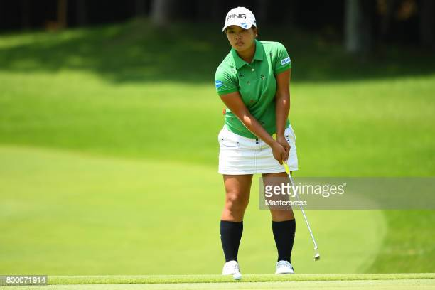 Ai Suzuki of Japan lines up during the second round of the Earth Mondamin Cup at the Camellia Hills Country Club on June 23 2017 in Sodegaura Japan
