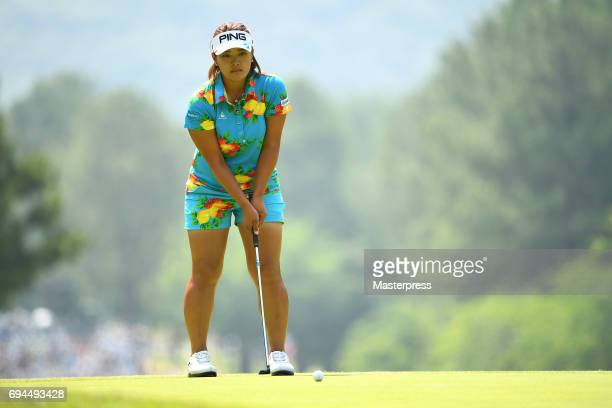 Ai Suzuki of Japan lines up during the third round of the Suntory Ladies Open at the Rokko Kokusai Golf Club on June 10 2017 in Kobe Japan
