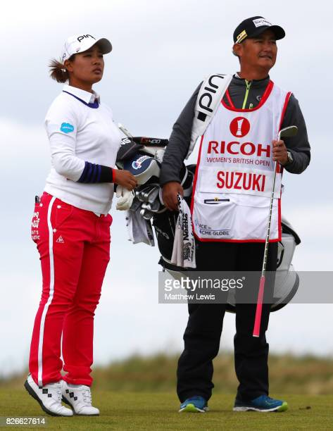 Ai Suzuki of Japan looks down the 4th hole during the third round of the Ricoh Women's British Open at Kingsbarns Golf Links on August 5 2017 in...