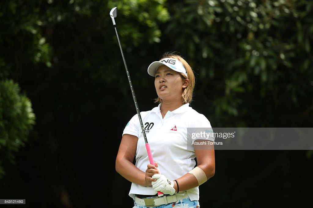 <a gi-track='captionPersonalityLinkClicked' href=/galleries/search?phrase=Ai+Suzuki+-+Golfer&family=editorial&specificpeople=13711094 ng-click='$event.stopPropagation()'>Ai Suzuki</a> of Japan looks on during the final round of the Earth Mondamin Cup at the Camellia Hills Country Club on June 25, 2016 in Sodegaura, Japan.