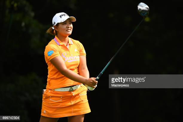 Ai Suzuki of Japan looks on during the first round of the Earth Mondamin Cup at the Camellia Hills Country Club on June 22 2017 in Sodegaura Japan
