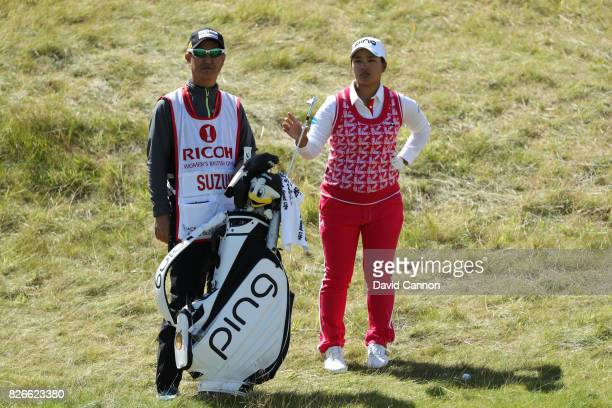 Ai Suzuki of Japan looks on during the third round of the Ricoh Women's British Open at Kingsbarns Golf Links on August 5 2017 in Kingsbarns Scotland