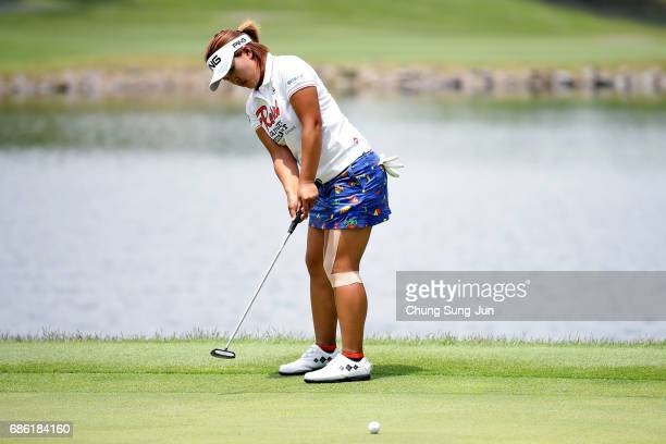 Ai Suzuki of Japan plays a putt on the 9th green during the final round of the Chukyo Television Bridgestone Ladies Open at the Chukyo Golf Club...