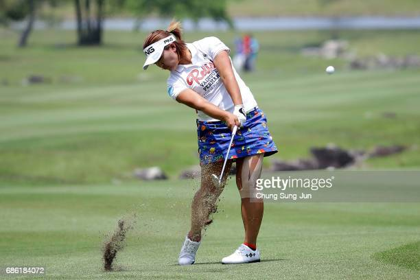 Ai Suzuki of Japan plays a shot on the 9th hole during the final round of the Chukyo Television Bridgestone Ladies Open at the Chukyo Golf Club...