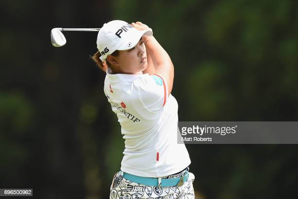 Ai Suzuki of Japan plays her approach shot on the 1st hole during the first round of the Nichirei Ladies at the Sodegaura Country Club Shinsode...