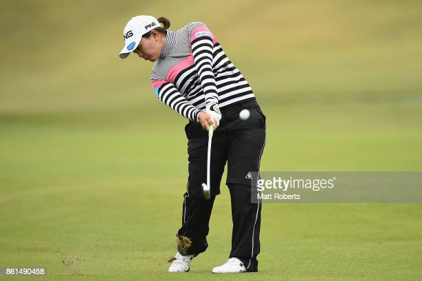 Ai Suzuki of Japan plays her second shot on the 11th hole during the final round of the Fujitsu Ladies 2017 at the Tokyu Seven Hundred Club on...