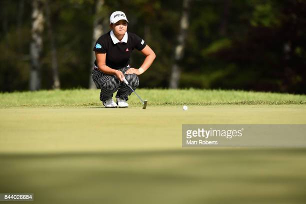 Ai Suzuki of Japan prepares to putt on the 3rd green during the second round of the 50th LPGA Championship Konica Minolta Cup 2017 at the Appi Kogen...