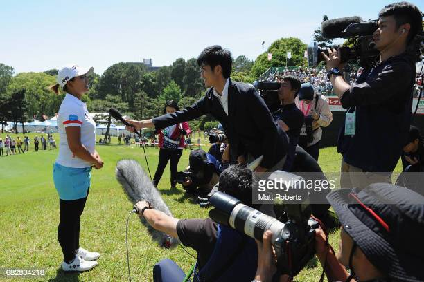 Ai Suzuki of Japan speaks to media representatives after winning the HokennoMadoguchi Ladies at the Fukuoka Country Club Wajiro Course on May 14 2017...