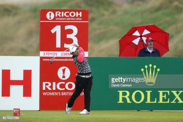 Ai Suzuki of Japan tees off on the 13th hole during the final round of the Ricoh Women's British Open at Kingsbarns Golf Links on August 6 2017 in...