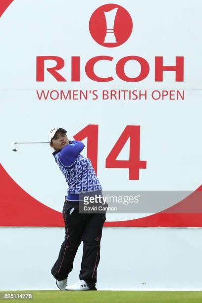 Ai Suzuki of Japan tees off on the 14th hole during a proam round prior to the Ricoh Women's British Open at Kingsbarns Golf Links on August 1 2017...