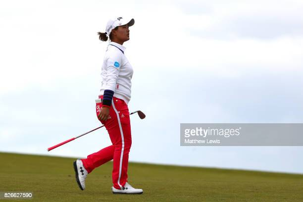 Ai Suzuki of Japan walks down the 4th hole during the third round of the Ricoh Women's British Open at Kingsbarns Golf Links on August 5 2017 in...