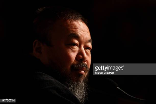 Ai Weiwei one of China's most controversial artists looks on during the 'So Sorry' exhibition opening at 'Haus der Kunst' on October 11 2009 in...