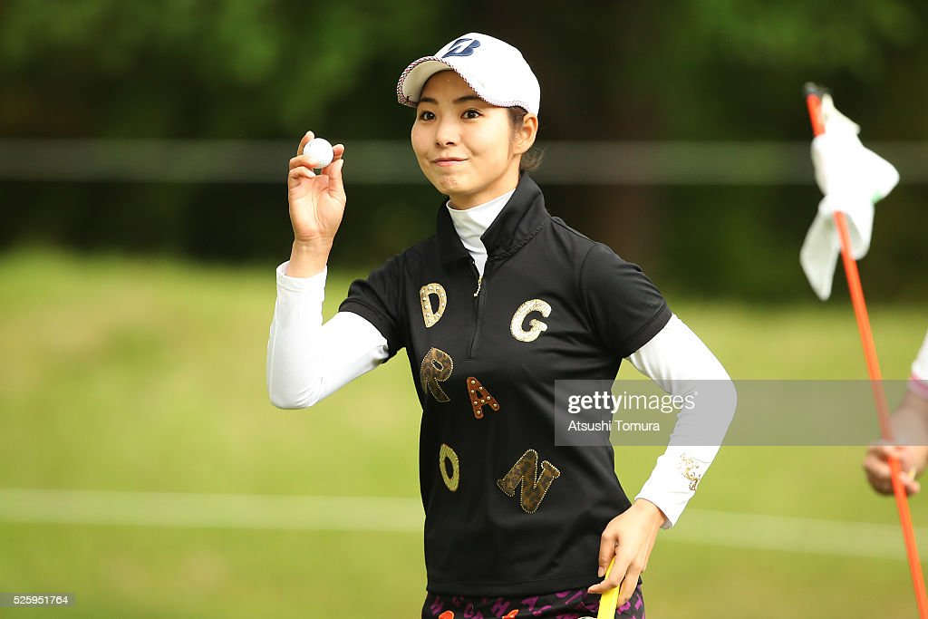 Ai Yamazato of Japan reacts during the first round of the CyberAgent Ladies Golf Tournament at the Grand Fields Country Club on April 29, 2016 in Mishima, Japan.