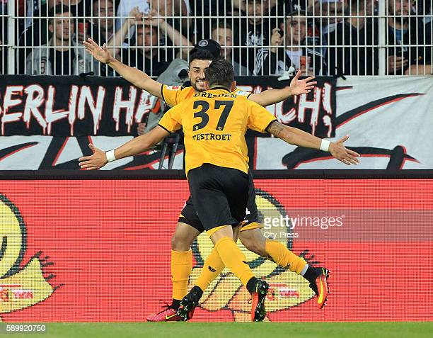 Aias Aosman and Pascal Testroet of SG Dynamo Dresden celebrate after scoring the 01 during the game between dem 1 FC Union Berlin and Dynamo Dresden...