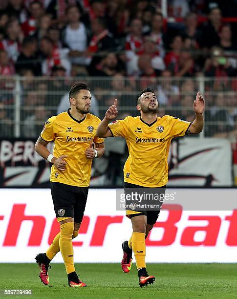 Aias Aosman of Dresden celebrates after scoring his team's opening goal next to Pascal Testroet of Dresden during the Second Bundesliga match between...