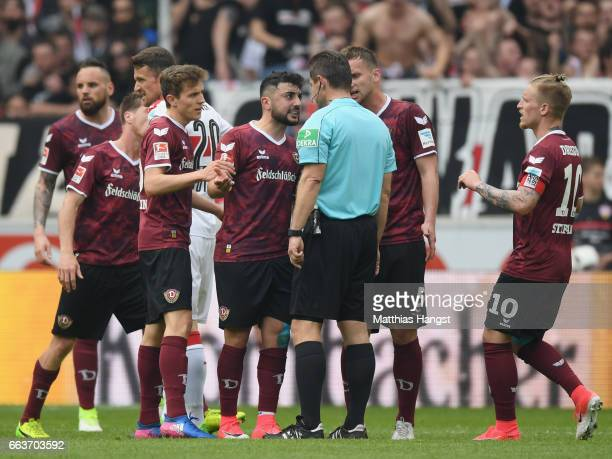 Aias Aosman of Dresden makes his feelings known to refer Guenter Perl during the Second Bundesliga match between VfB Stuttgart v Dynamo Dresden at...
