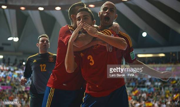 Aicardo of Spain celebrates after scoring his teams second goal during the FIFA Futsal World Cup Final at Indoor Stadium Huamark on November 18 2012...