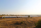 Aid convoy is parked carrying humanitarian aid for people in Ukraine at the Ukrainian border in RostovonDon region Russia on August 15 2014 The...