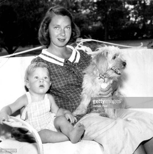 Aid Dumb Friends League Drive Aiding with the Dumb Friends League fundraising drive is Mrs F Wallace Gage pictured with her 17monthold son Peter and...