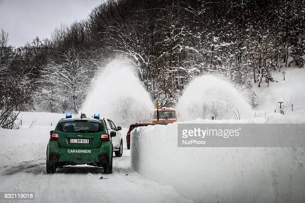 Aid Vehicles reach the zone affected by earthquake Italy on January 19 2017 A great deal of snow has fallen in the area which was hit by four quakes...