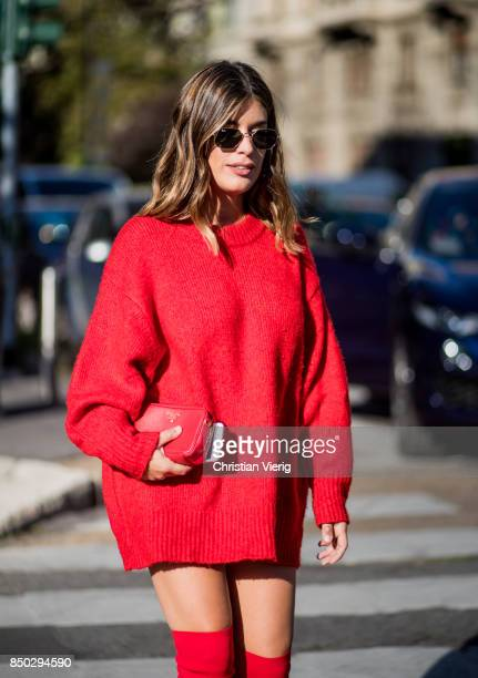 Aida Domenech weraing a red sweater is seen outside Alberta Ferretti during Milan Fashion Week Spring/Summer 2018 on September 20 2017 in Milan Italy