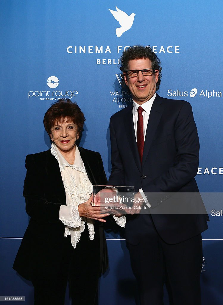 Aida Takla-O'Reilly and Producer Jim Burke during the Cinema For Peace Gala Ceremony at the 63rd Berlinale International Film Festival at the Waldorf Astoria Hotel on February 9, 2013 in Berlin, Germany.
