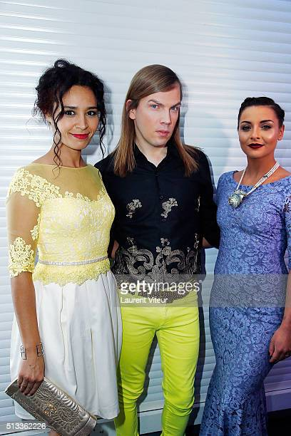 Aida Touihri Christophe Guillarme and Priscilla Betti attend the Christophe Guillarme show as part of the Paris Fashion Week Womenswear Fall/Winter...