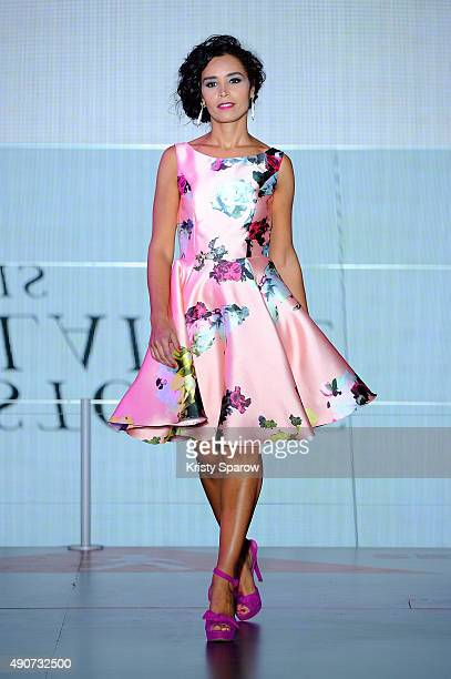 Aida Touihri walks the runway during the finale of the Christophe Guillarme show as part of Paris Fashion Week Womenswear Spring/Summer 2016 on...