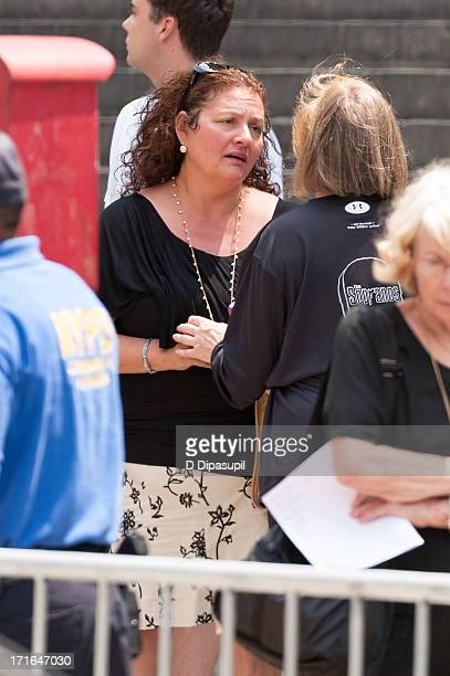 Aida Turturro attends the funeral for actor James Gandolfini at The Cathedral Church of St John the Divine on June 27 2013 in New York City...