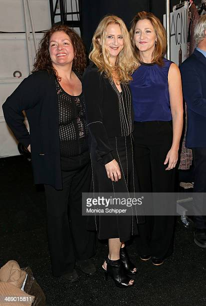 Aida Turturro Nanette Lepore and Edie Falco pose backstage at the Nanette Lepore fashion show during MercedesBenz Fashion Week Fall 2014 at The Salon...