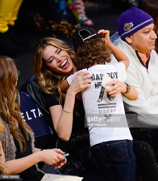 Aida Yespica attends a basketball game between the Golden State Warriors and the Los Angeles Lakers at Staples Center on November 16 2014 in Los...