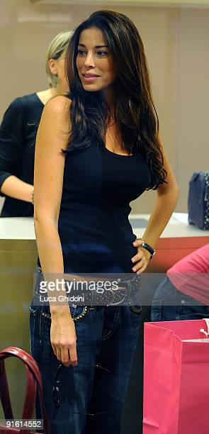 Aida Yespica is seen shopping on October 8 2009 in Milan Italy