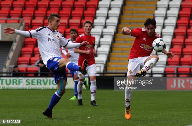 Aidan Barlow of Manchester United U19s in action during the UEFA Youth League match between Manchester United U19s and FC Basel U19s at Leigh Sports...