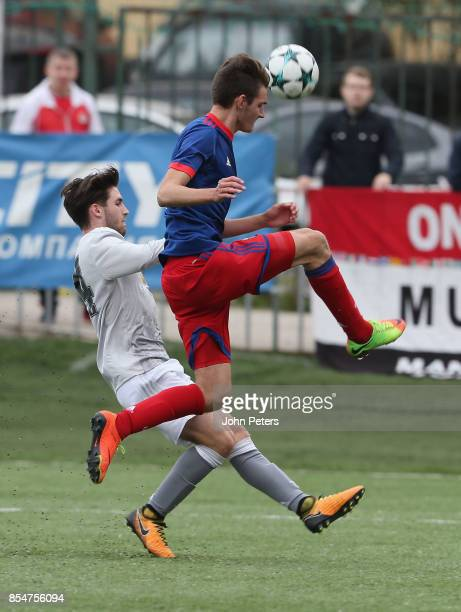 Aidan Barlow of Manchester United U19s in action during the UEFA Youth League match between CSKA Moskva U19s and Manchester United U19s at Oktyabr...