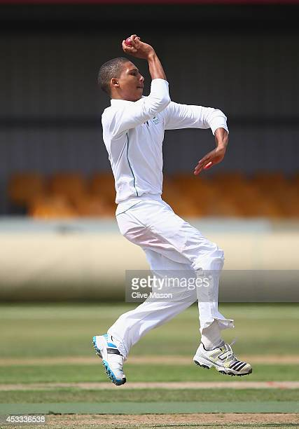 Aidan Brooker of South Africa in action bowling during day two of the second test match between England U19's and South Africa U19's at The County...