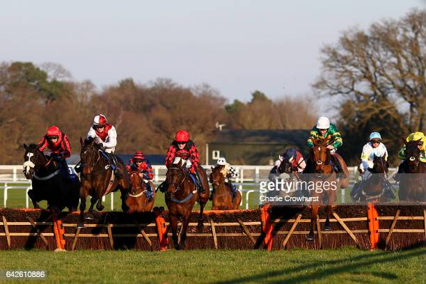Aidan Coleman rides Forthefunofit to win The Racing UK Club Day Today Handicap Hurdle Race at Ascot Racecourse on February 18 2017 in Ascot England