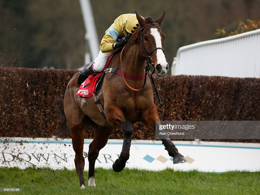 Aidan Coleman riding Arthur's Oak clear the last to win The Betfred 'Treble The Odds On Lucky 15's' Handicap Steeple Chase at Sandown racecourse on February 06, 2016 in Esher, England.